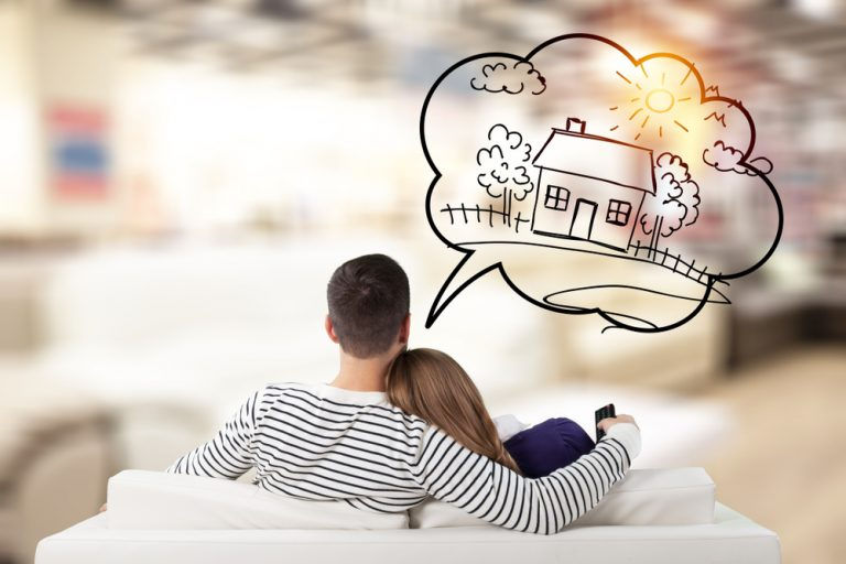 Couple thinking of their dream home