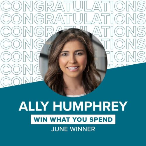 Ally Humphrey Win What You Spend June Winner
